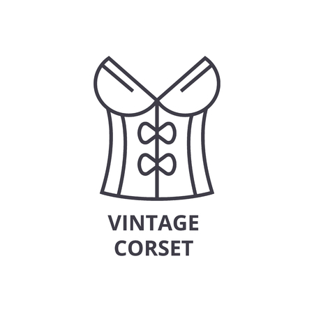 A vintage corset line icon, outline sign, linear symbol, flat vector illustration 向量圖像