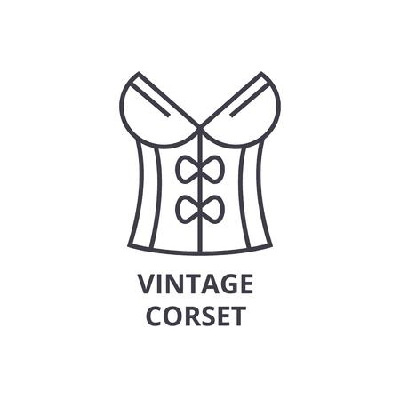 A vintage corset line icon, outline sign, linear symbol, flat vector illustration Ilustração