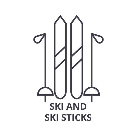 Een ski en ski sticks lijn pictogram, overzichtsteken, lineair symbool, platte vectorillustratie