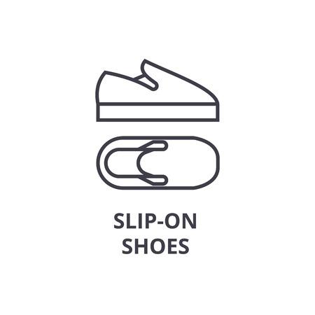slip on shoes line icon, outline sign, linear symbol, flat vector illustration
