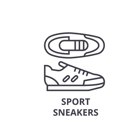 A sport sneakers line icon, outline sign, linear symbol, flat vector illustration Standard-Bild - 91080577