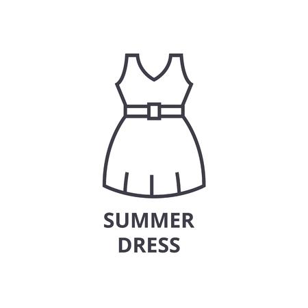 summer dress line icon, outline sign, linear symbol, flat vector illustration