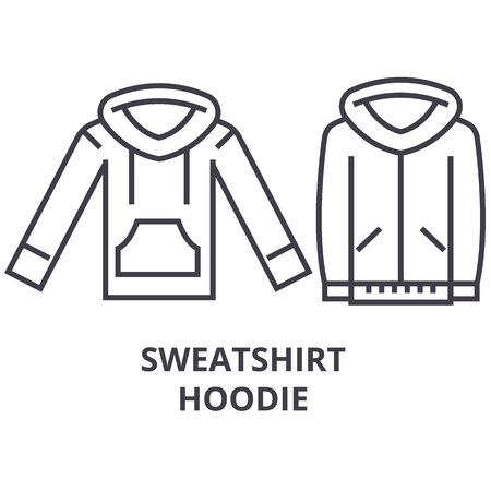 sweatshirt hoodie line icon, outline sign, linear symbol, flat vector illustration