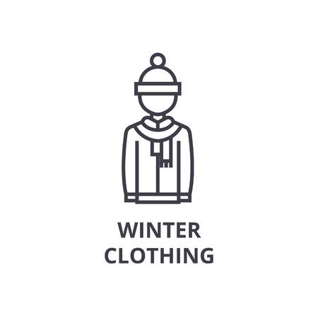 winter clothing line icon, outline sign, linear symbol, flat vector illustration Illustration