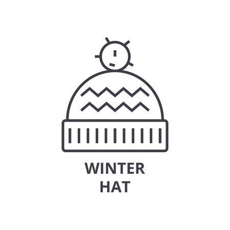 winter hat line icon, outline sign, linear symbol, flat vector illustration Illustration