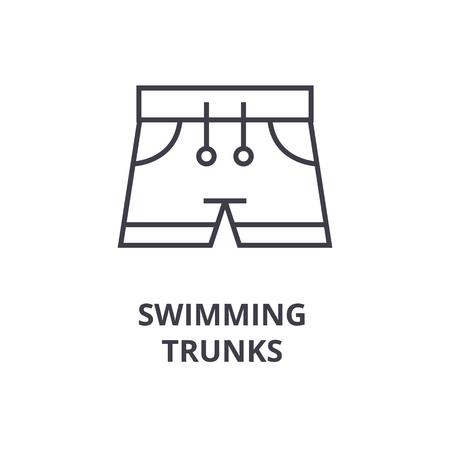 zwembroek lijn pictogram, overzichtsteken, lineair symbool, platte vectorillustratie Stock Illustratie