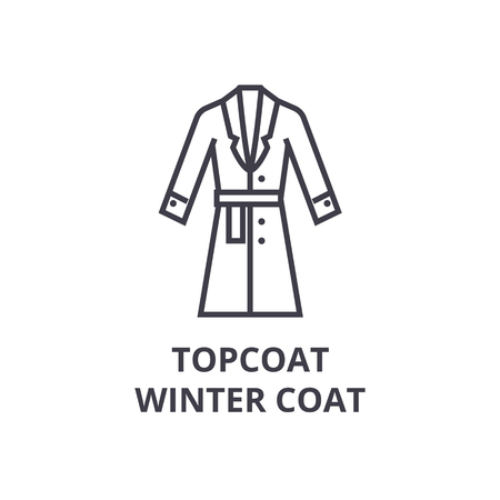 Een toplaag, winterjas lijn pictogram, overzichtsteken, lineair symbool, platte vectorillustratie Stock Illustratie