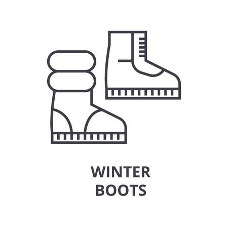 winter boots line icon, outline sign, linear symbol, flat vector illustration Banque d'images - 91076909