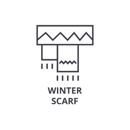 winter scarf line icon, outline sign, linear symbol, flat vector illustration