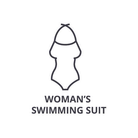 woman swimming suit line icon, outline sign, linear symbol, flat vector illustration Illustration