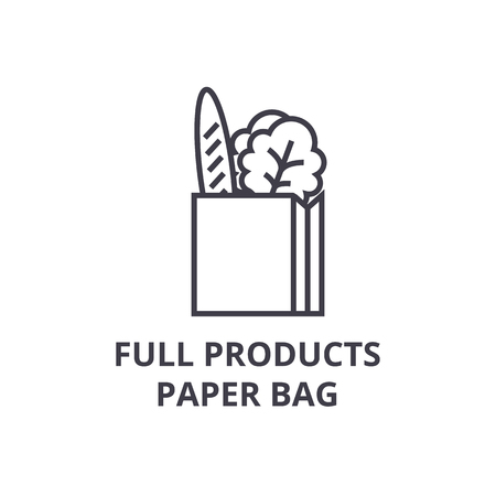 full products paper bag line icon, outline sign, linear symbol, flat vector illustration Ilustração