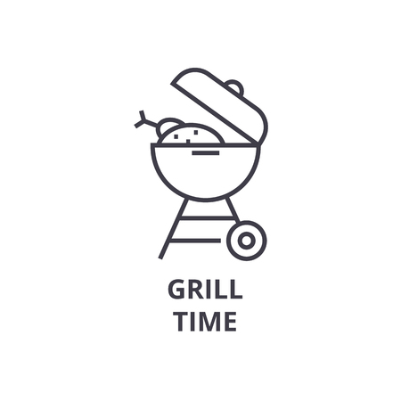 grill time line icon, outline sign, linear symbol, flat vector illustration