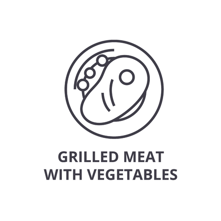 grilled meat with vegetables line icon, outline sign, linear symbol, flat vector illustration