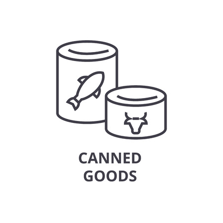 A canned goods line icon, outline sign, linear symbol, flat vector illustration Stock Illustratie