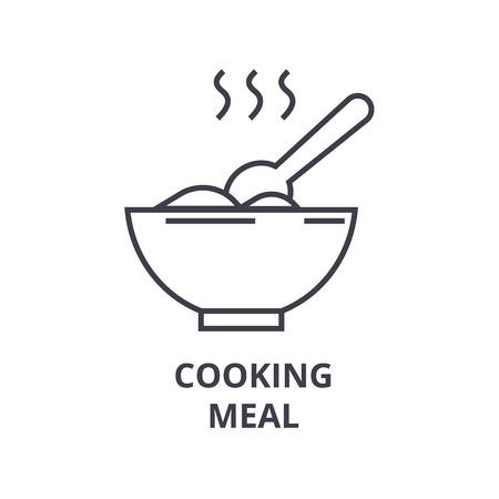 cooking meal line icon, outline sign, linear symbol, flat vector illustration Illustration