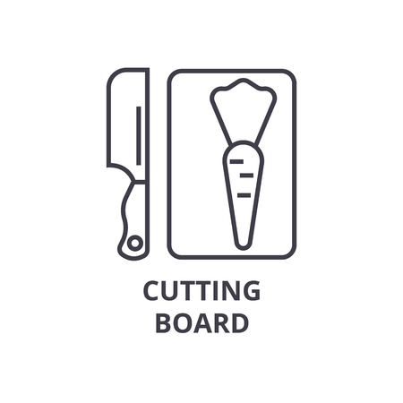 cutting board line icon, outline sign, linear symbol, flat vector illustration