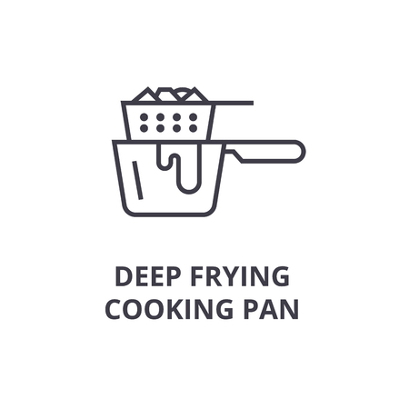 A deep frying cooking pan line icon, outline sign, linear symbol, flat vector illustration