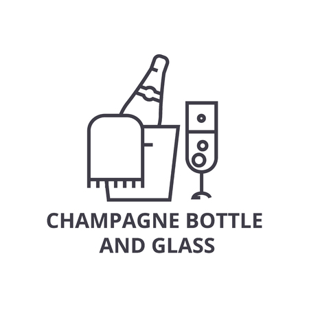 A champagne bottle and glass line icon, outline sign, linear symbol, flat vector illustration
