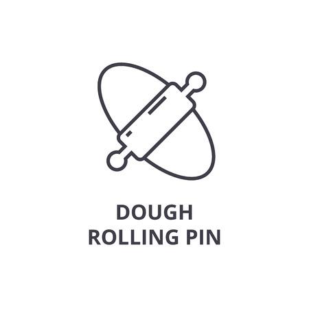 dough rolling pin line icon, outline sign, linear symbol, flat vector illustration Illustration