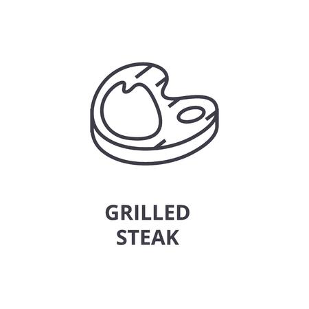grilled steak line icon, outline sign, linear symbol, flat vector illustration Иллюстрация