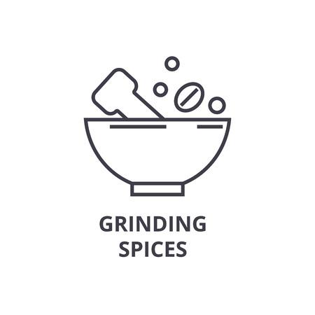 grinding spices line icon, outline sign, linear symbol, flat vector illustration Illustration