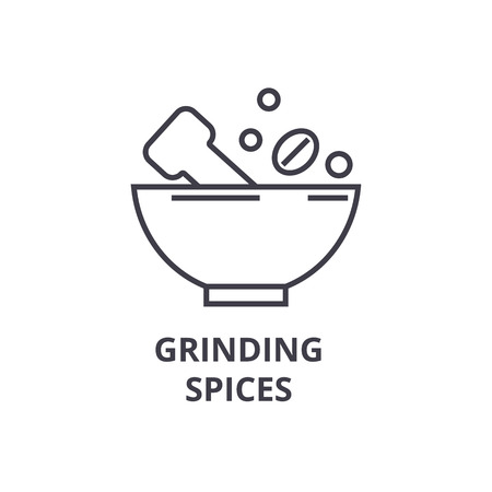 grinding spices line icon, outline sign, linear symbol, flat vector illustration Vettoriali