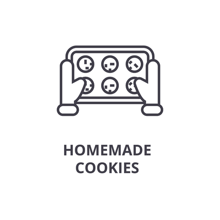 A homemade cookies line icon, outline sign, linear symbol, flat vector illustration Çizim