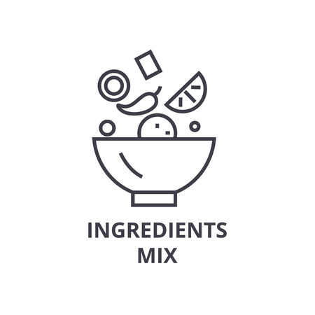 ingredients mix line icon, outline sign, linear symbol, flat vector illustration