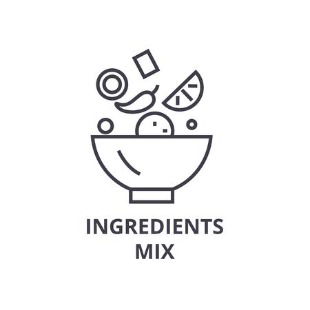 ikona linii mix składników, znak konspektu, symbol liniowy, płaska ilustracja wektorowa