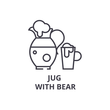 jug with bear line icon, outline sign, linear symbol, flat vector illustration
