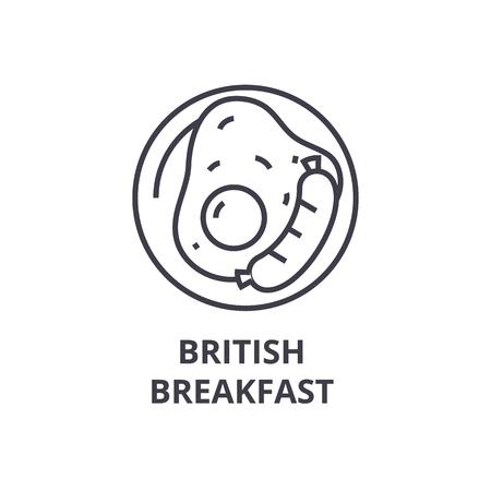 British breakfast line icon.