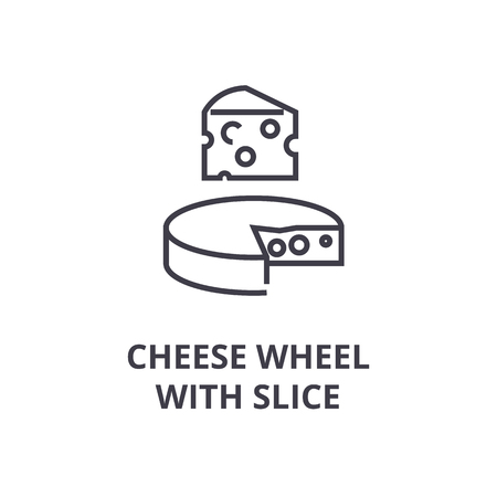 Cheese wheel with slice line icon.