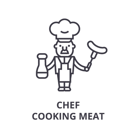 Chef cooking line icon. Illustration
