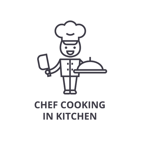 chef cooking in kitchen line icon, outline sign, linear symbol, flat vector illustration Stock Vector - 91076954