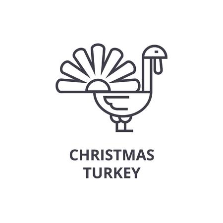 Christmas turkey line icon. Stock Vector - 91074722
