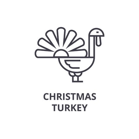 Christmas turkey line icon. Illustration