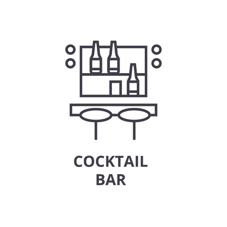 Cocktail bar line icon. Illustration