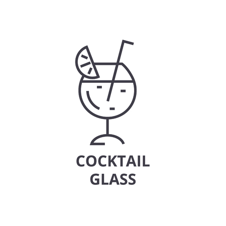 cocktail glass line icon, outline sign, linear symbol, flat vector illustration Stock Vector - 91076958