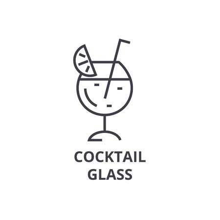 cocktail glass line icon, outline sign, linear symbol, flat vector illustration