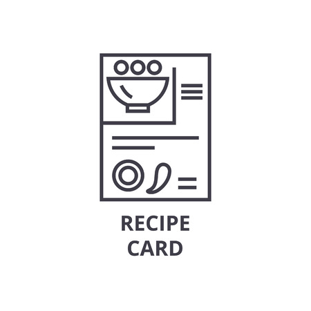 recipe card line icon, outline sign, linear symbol, flat vector illustration