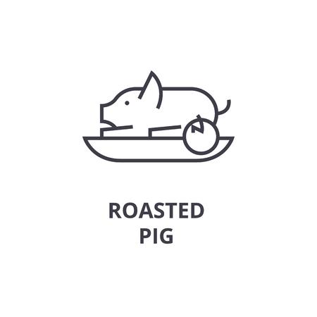 Eine gebratene Schweinlinie Ikone, Entwurfszeichen, lineares Symbol, flache Vektorillustration Standard-Bild - 91080792