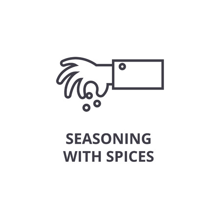 seasoning with spices line icon, outline sign, linear symbol, flat vector illustration