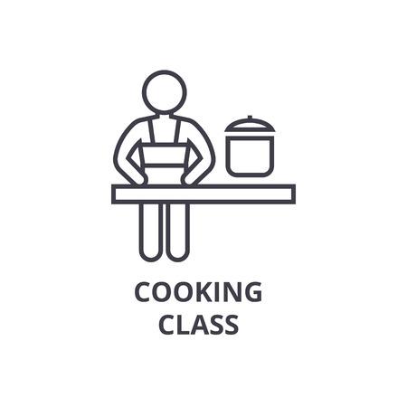 Cooking class line icon. Stock Illustratie