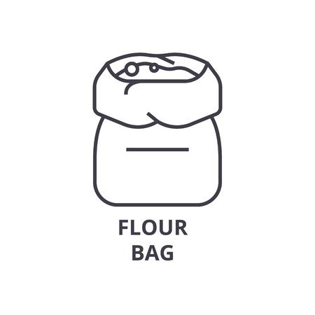 小麦粉袋線アイコン、アウトライン記号、線形シンボル、フラットのベクトル図  イラスト・ベクター素材