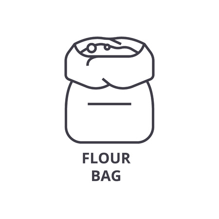 A flour bag line icon, outline sign, linear symbol, flat vector illustration