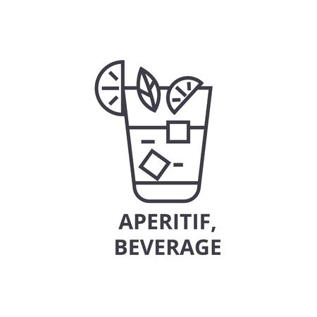 食前酒、飲料ライン アイコン、アウトライン記号、線形シンボル、フラットのベクトル図