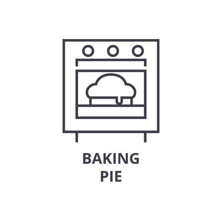 A baking pie line icon, outline sign, linear symbol, flat vector illustration