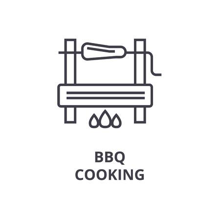 Barbecue koken lijn pictogram, overzichtsteken, lineair symbool, platte vectorillustratie Stock Illustratie