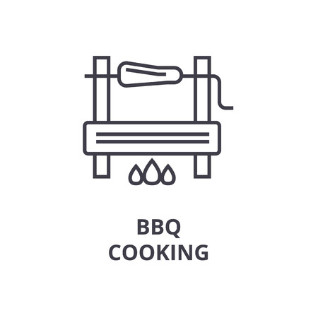 Barbeque cooking line icon, outline sign, linear symbol, flat vector illustration Ilustracja