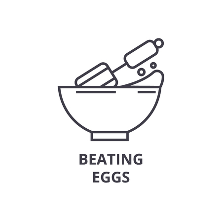 beating eggs line icon, outline sign, linear symbol, flat vector illustration